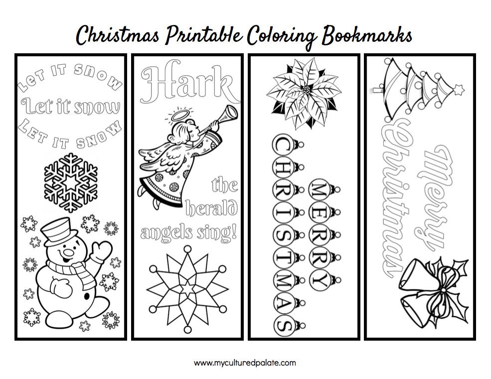 Free Christmas Bookmarks To Color Cultured Palate Coloring Bookmarks Christmas Bookmarks Coloring Bookmarks Free