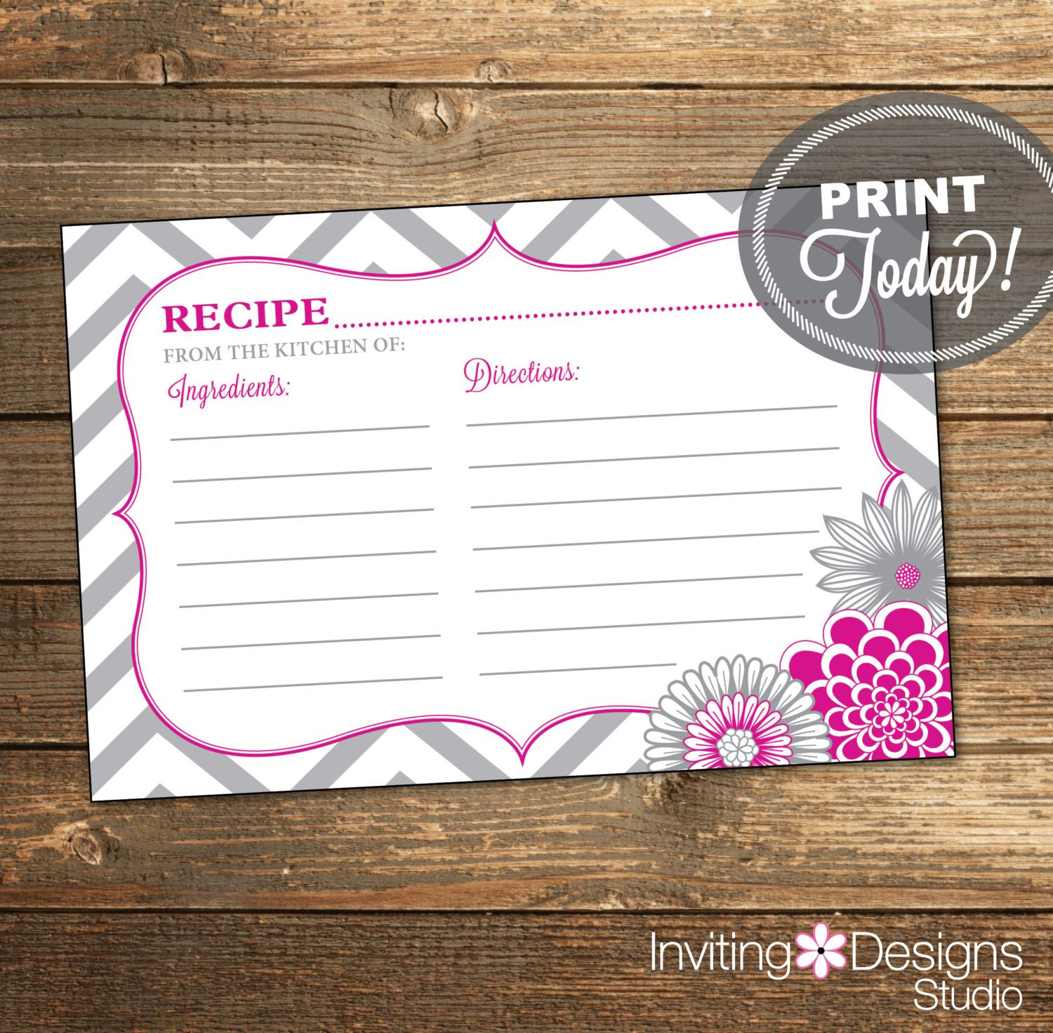 Bridal Shower Recipe Card Mint Instant Download Hot Pink Recipe Card Printable