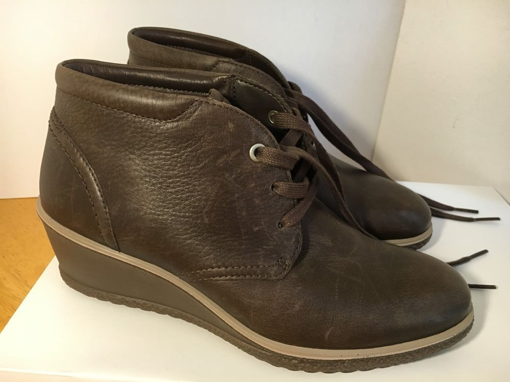 5959ebec ECCO Camilla Wedge Ankle Boot Coffee Brown Size EU 38 USA Women's ...