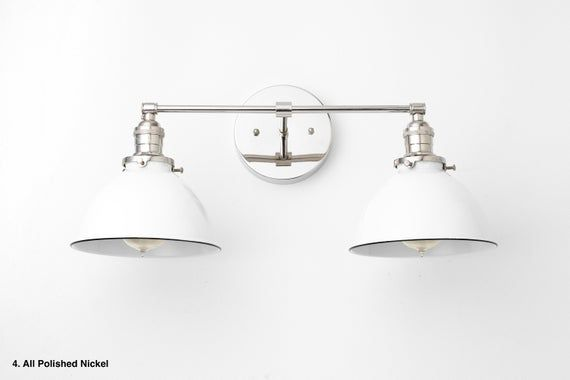 Photo of White Vanity Light – Nickel Leuchte – Farmhouse Vanity – Badezimmerbeleuchtung – Brushed Nickel Light – Wandleuchte – Modell Nr. 9091
