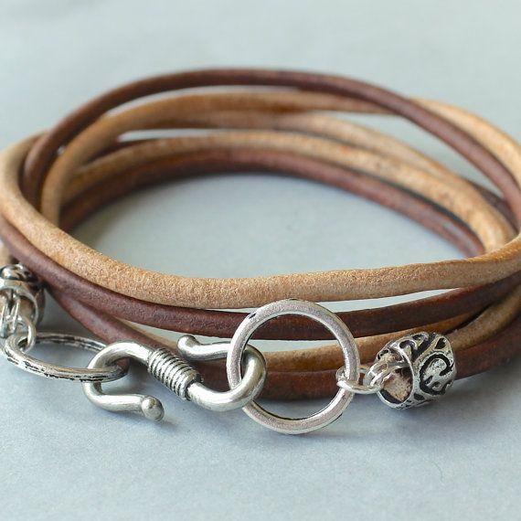 MEN Boho  LEATHER Wrap Bracelet   Unisex His or by WrappedinYou, $17.99