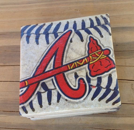 1-4 Pack Vinyl Drink Coasters Atlanta Braves logo