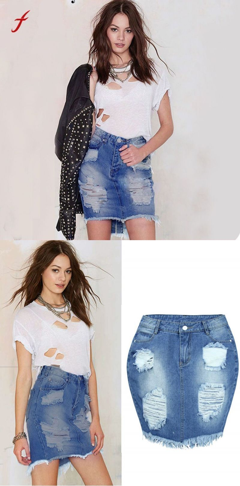 ef425c352f4d Brand jeans skirt 2018 spring summer women denim skirt jeans female high  waist ripped vintage skinny
