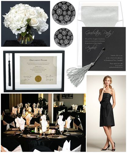 Black and white elegance make this affair one to remember | Sophisticated Graduation Party on FineStationery.com