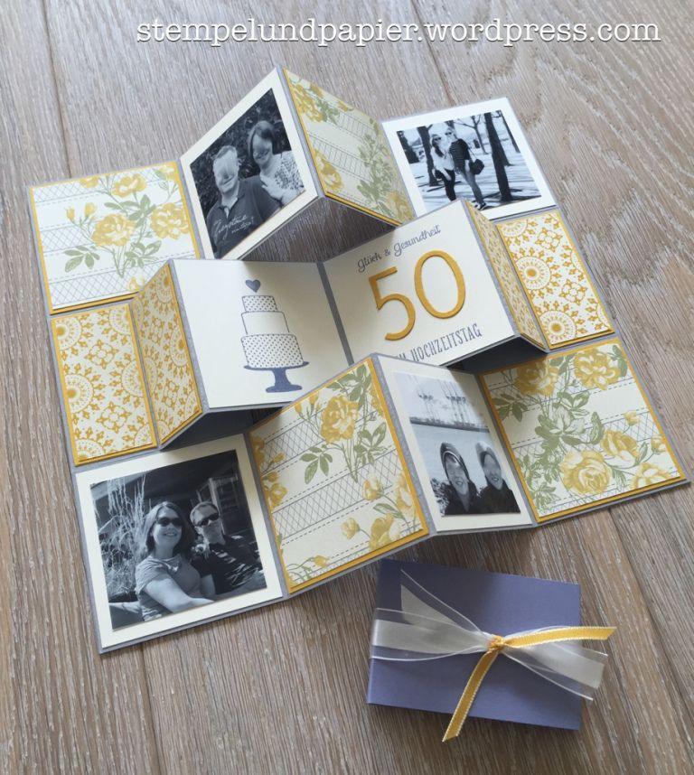 2 in 1 die albumkarte goldene hochzeit karten karten basteln und stampin. Black Bedroom Furniture Sets. Home Design Ideas
