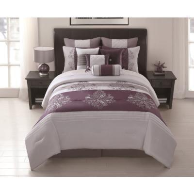 10 Piece Queen Iris Lavender Comforter Set
