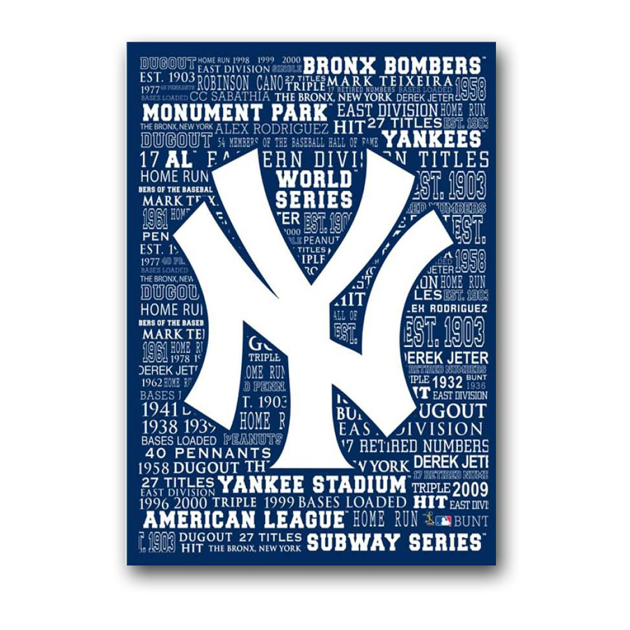 New York Yankees Officially Licensed Mlb 16 X 20 Typography Canvas Art New York Yankees New York Yankees Logo Yankees