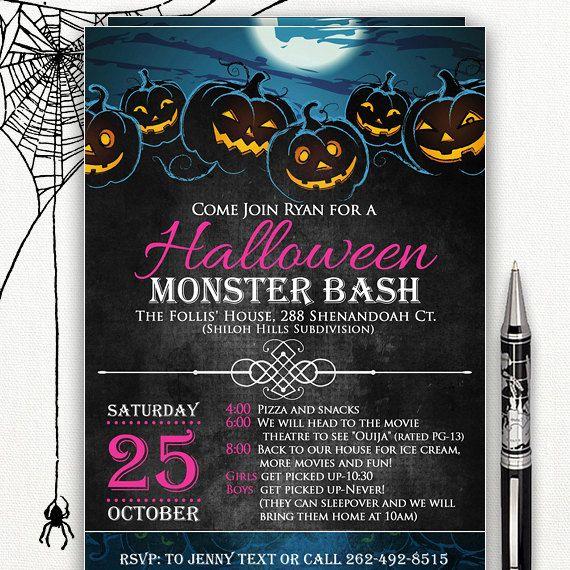 Printable Halloween Invitation Halloween Movie Night By Ameliycom Printable Halloween Invitations Halloween Invitations Halloween Movie Night