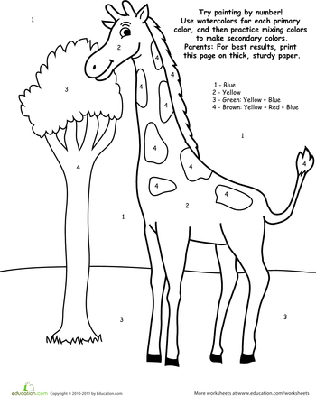 watercolor paint by number giraffe - Painting Worksheets For Kindergarten