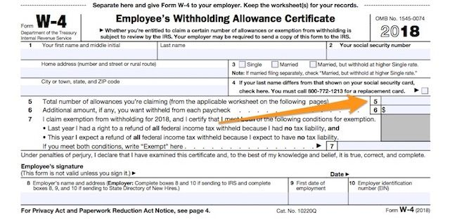 Out Your Form W Under The New Tax Law How Many Allowances