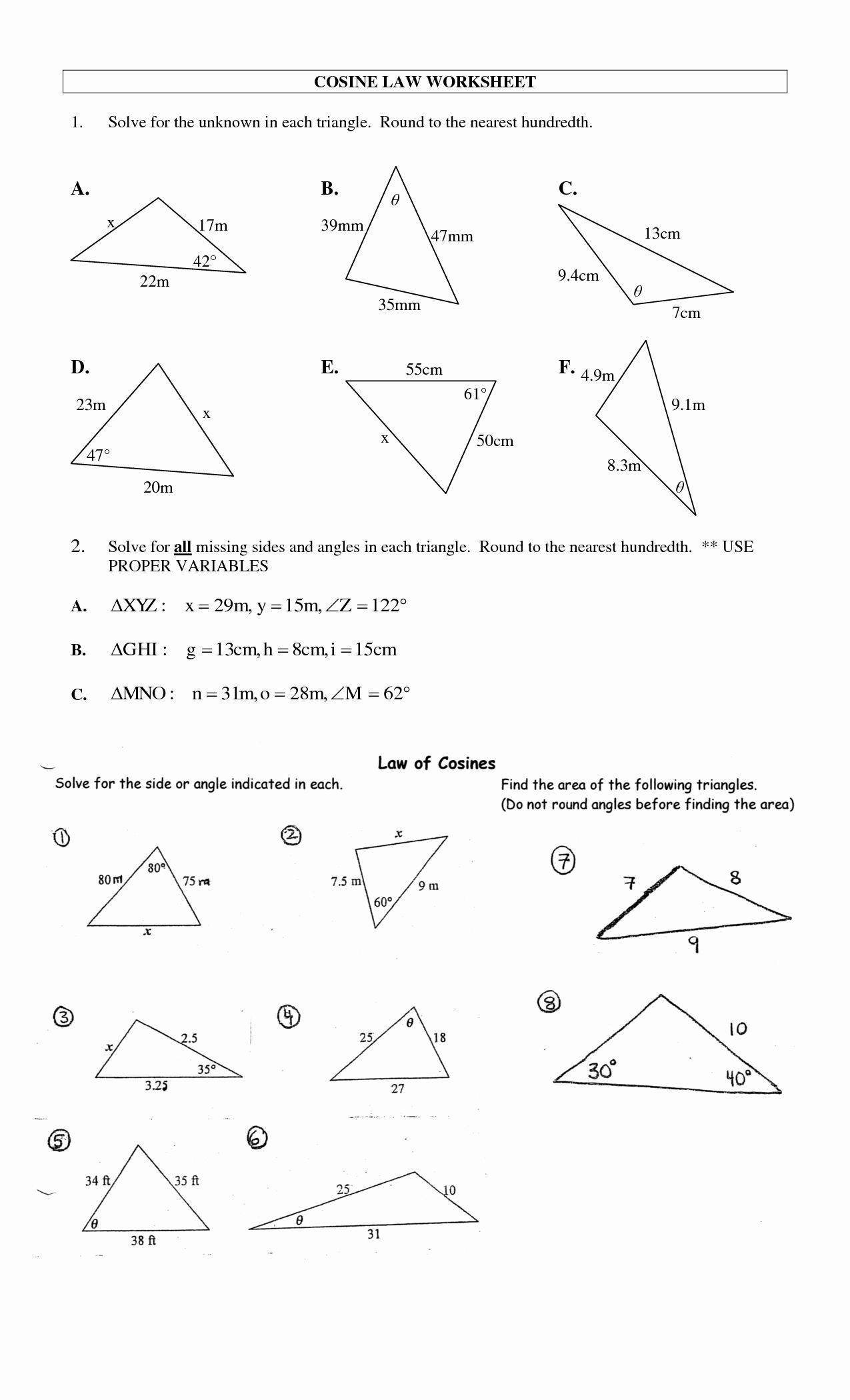 50 Law Of Sines Worksheet Answers In