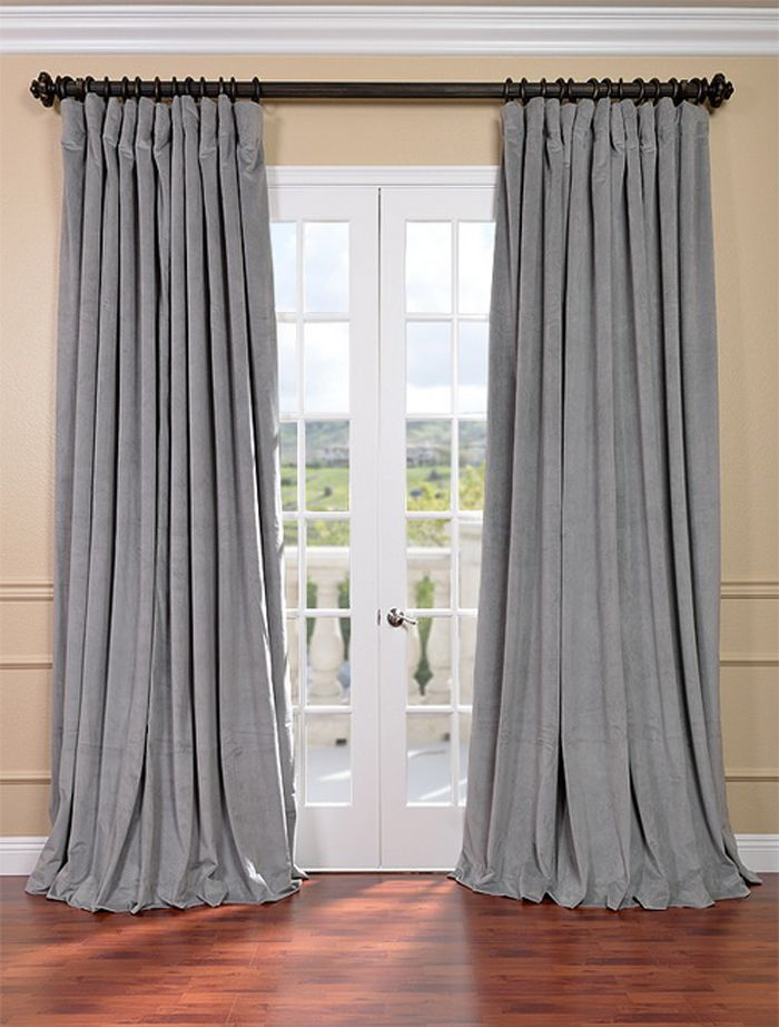 Signature Silver Grey Double Wide Velvet Blackout Pole Pocket Curtains Extra Wide Curtains Half Price Drapes Velvet Curtains