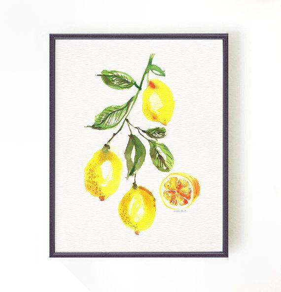 Cuisine Art Citron Arbre Aquarelle Citron Botanique Par Colorzen