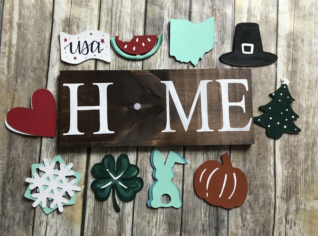 Interchangeable Holiday Signs Holiday Signs Welcome Door Signs Hand Painted
