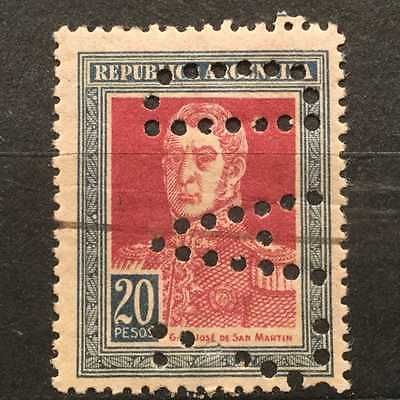 RARE-1923-20-PESOS-PERFORATED-PERFIN-38-HOLES-MINT-ARGENTINA-SAN-MARTIN-STAMP