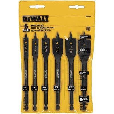 Dewalt 6 Bit 3 8 Inch To 1 Inch Spade Drill Bit Assortment Dewalt Drill Drill Bits Dewalt Tools