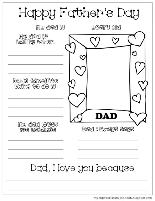 Father's day fill in the blank worksheet to fill out about dad