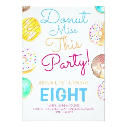 Cute girl donut birthday party invite cute girl donut birthday party invite birthday cards invitations party diy personalize customize celebration stopboris Image collections