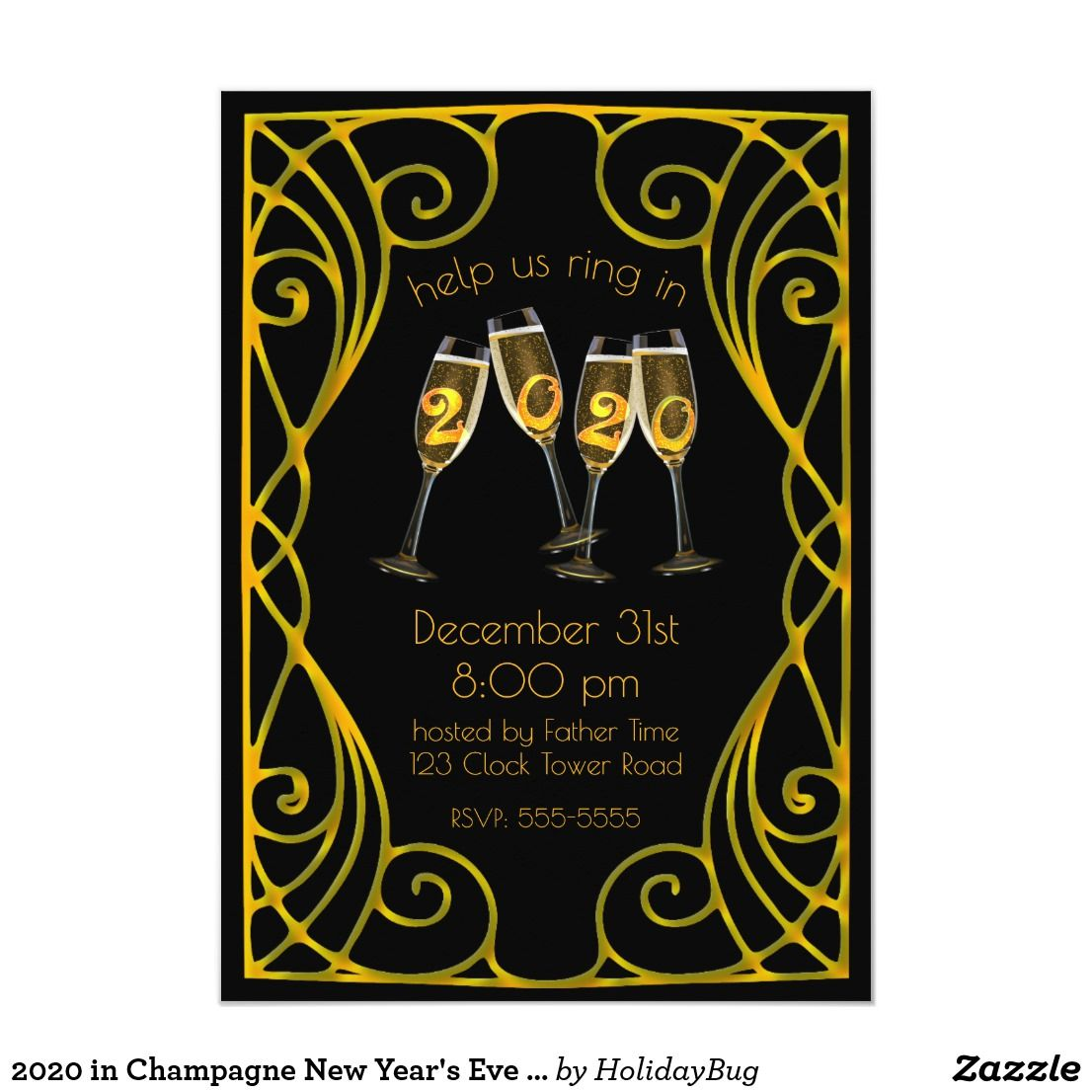 2020 in Champagne New Year's Eve Art Nouveau Invitation