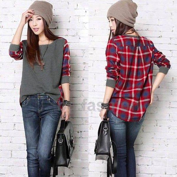 705c28cb9ad 2013 Fashion Long Sleeve Checks Shirt Women Loose Blouses Blouse Tops  Ladies Korean T-shirts S M L XL Free Shipping  8.59