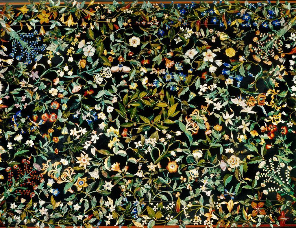 Plateau de table à décor végétal, 1614-1621. Marqueterie de pierres dures. Assemblé dans l'atelier de la galleria dei lavori d'après une peinture à l'huile sur papier de Jacopo Ligozzi.