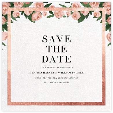 teablossom save the date rose gold pink paperless post