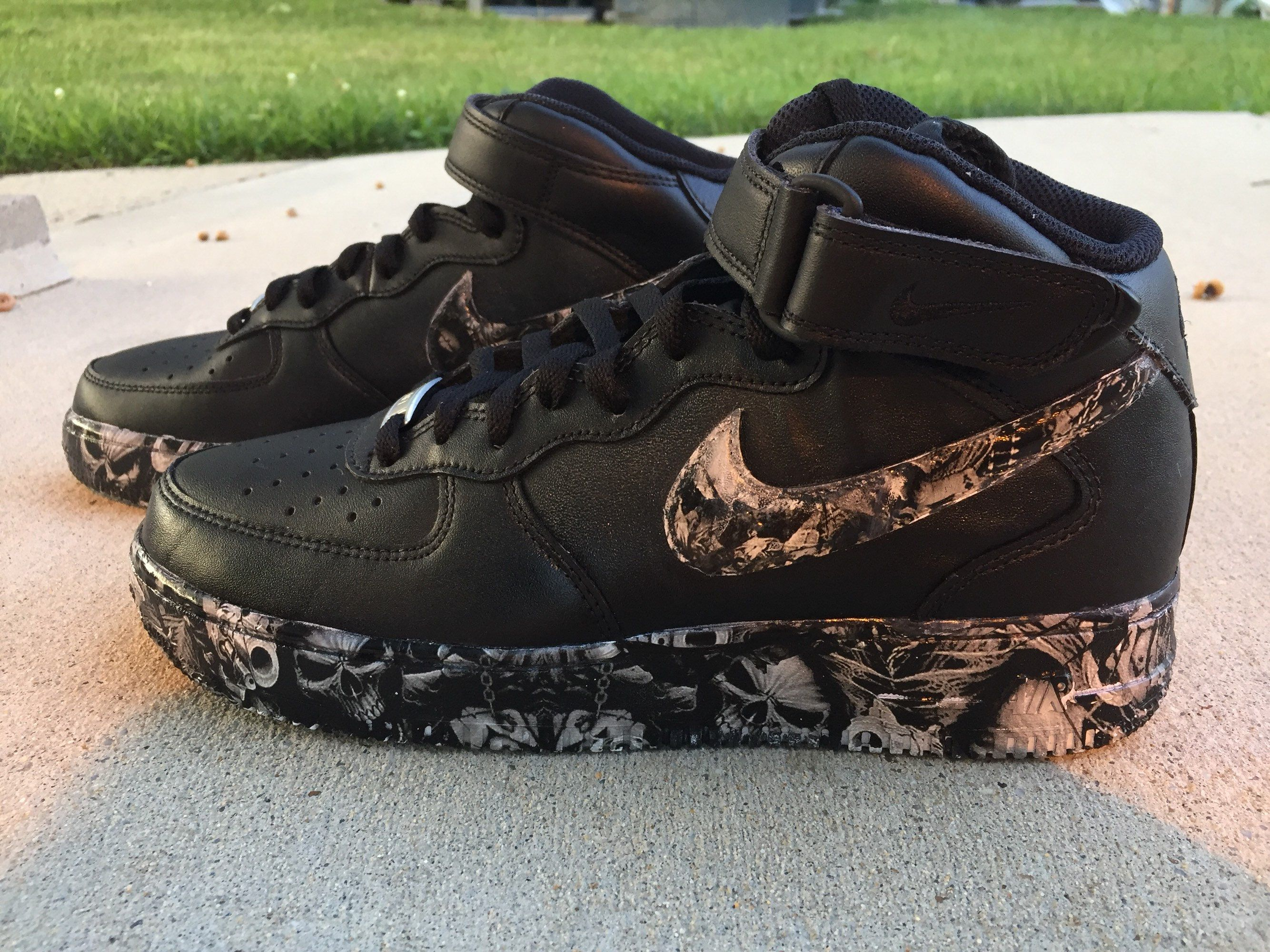 Skull Black Cust Air Force 1 US M 10 (Hydro dipped) 2 in