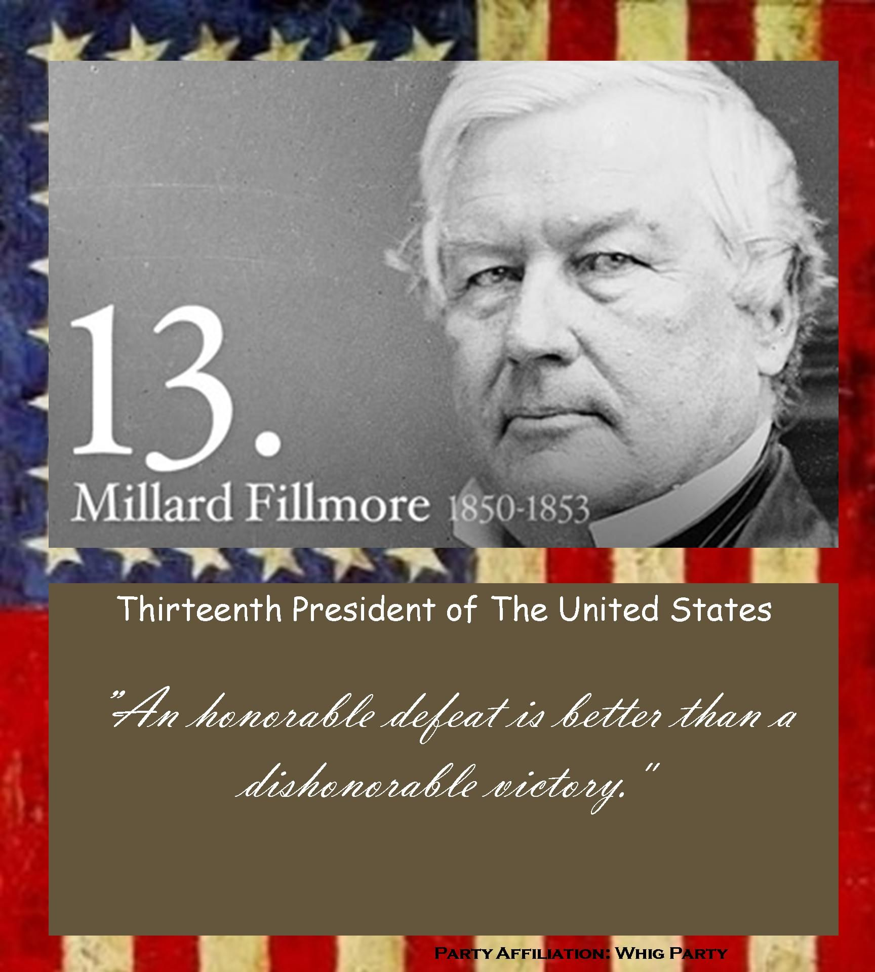 find this pin and more on 1850 1853 millard fillmore 13th president of the united states