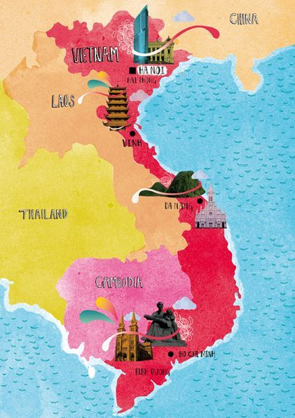 Vietnam Illustrated Map Unknown Author Vietnam Asia Map - Travel from us to laos world map