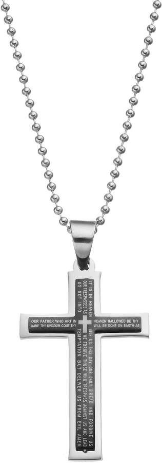 1913 Men S Stainless Steel The Lord S Prayer Cross Pendant Cross Necklace Construction Lords Prayer Cross Prayer Cross Cross Pendant