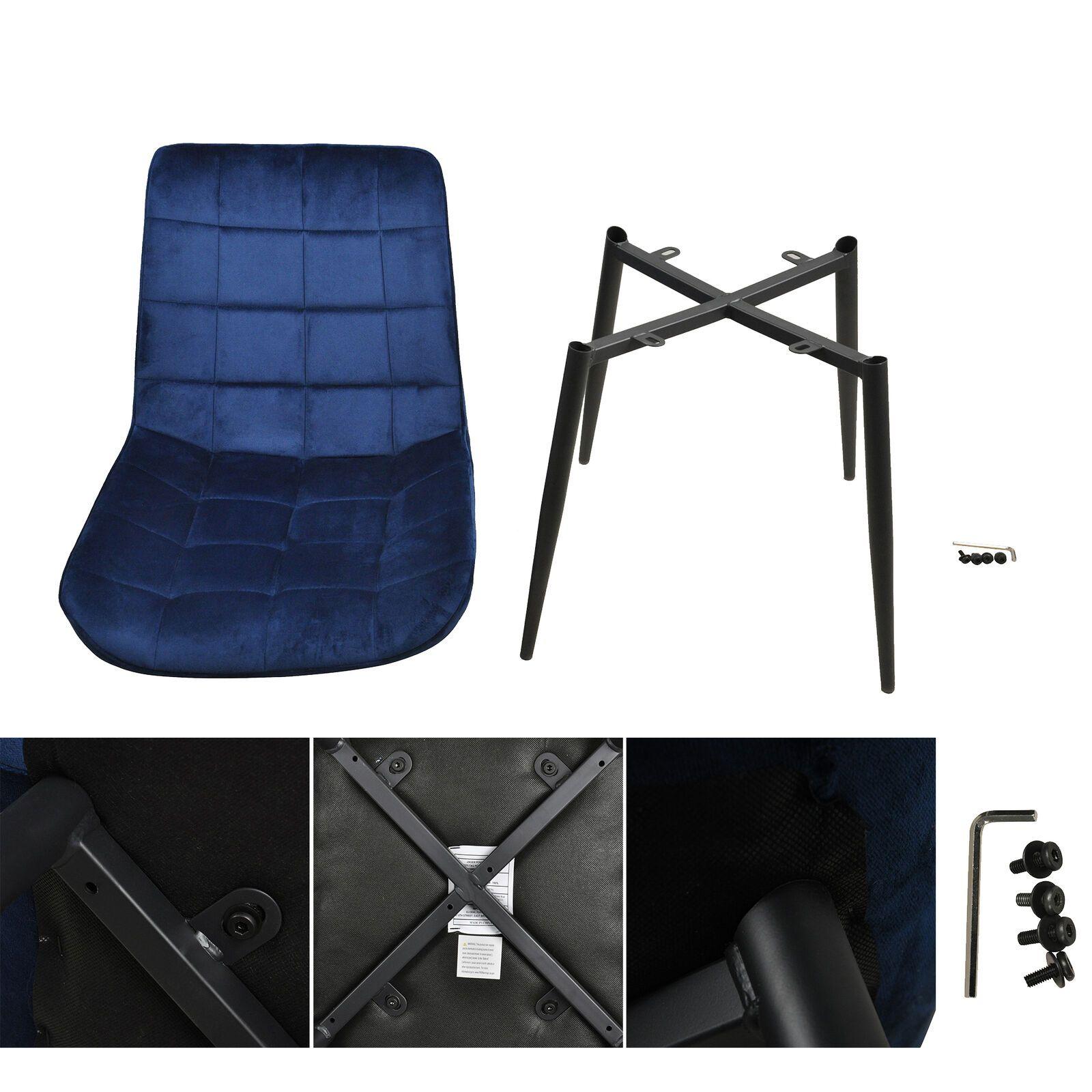 Modern Dining Chair Set Of 2 Velvet Cushion Seat Metal Legs