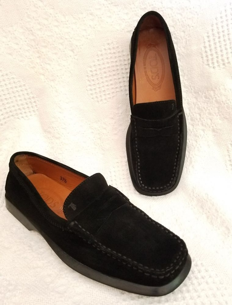 7dba5c114f2 Tod s women s 37.5 EUR 7.5 US Classic penny loafer square toe black suede  Italy  Tods  Loafers  Casual