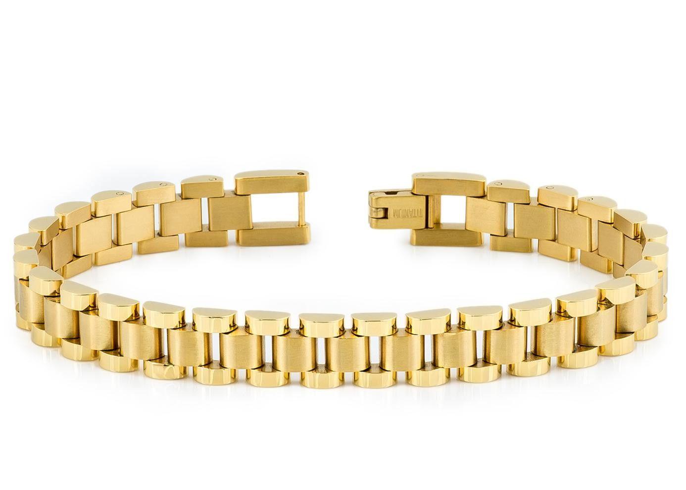 High polished u brushed yellow gold plated titanium designer link