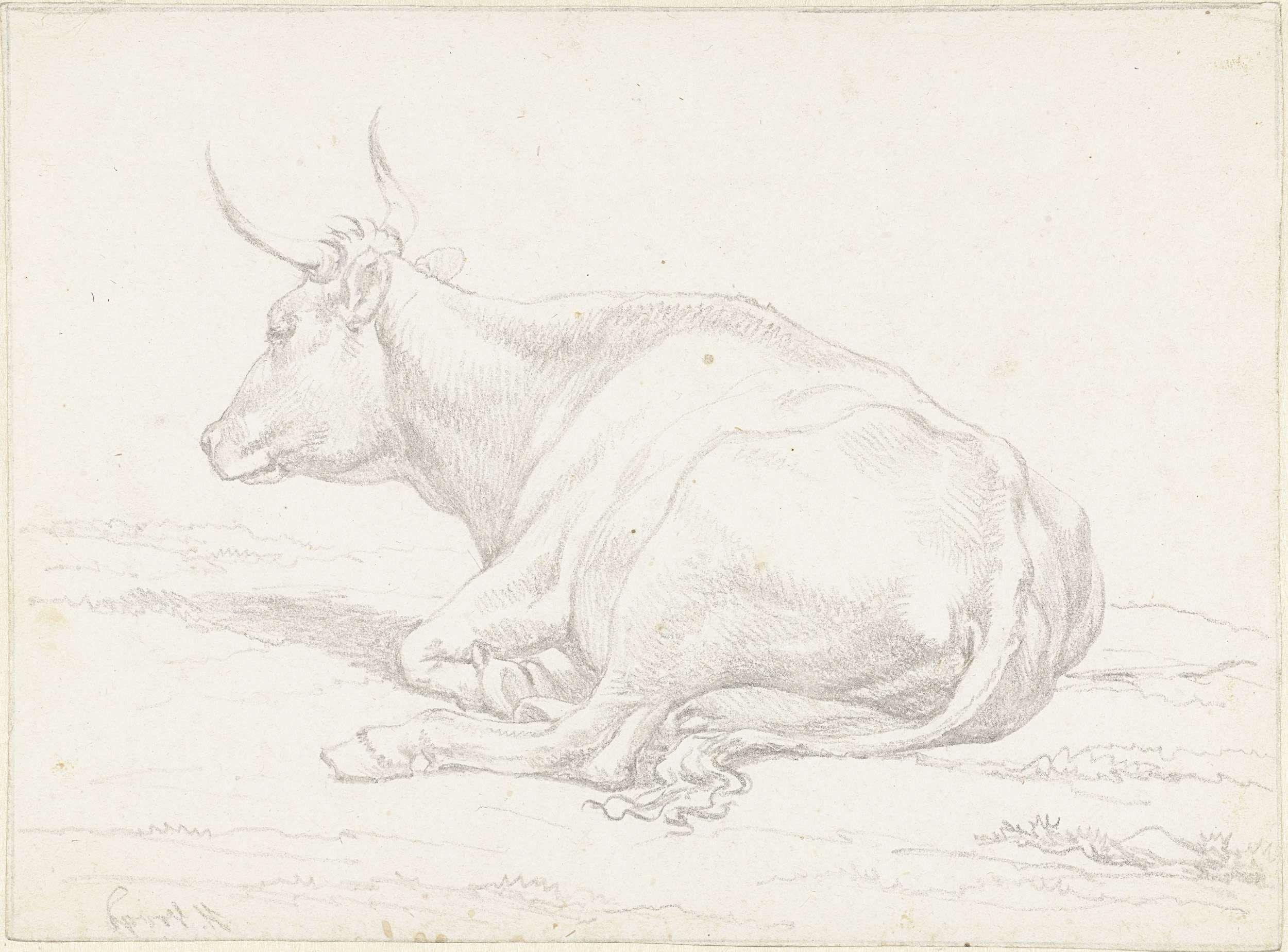 Hendrik Voogd | Liggende koe, naar links, Hendrik Voogd, 1788 - 1839 |