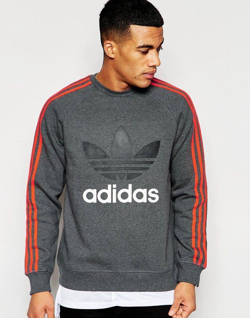 MENS GREY ADIDAS Originals Trefoil Sweatshirt Scuba Size