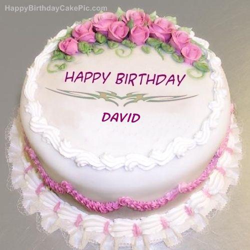 Pink Rose Birthday Cake Of David Happy Birthday Flower Cake Happy Birthday Cake Pictures Birthday Wishes Cake