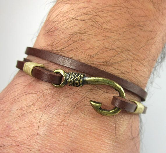 Fish Hook Bracelet In Brown Leather Beige Rope Uni Bronze Anchor Men S And Women