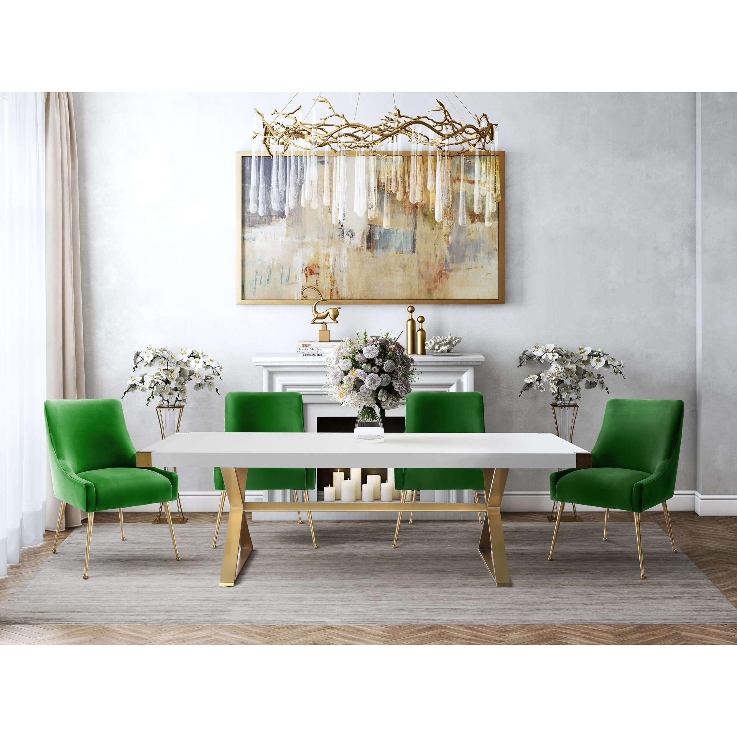Beatrix Side Chair Green Brushed Gold Base Sala Da Pranzo Mobili Idee Sala Da Pranzo Mobili Soggiorno