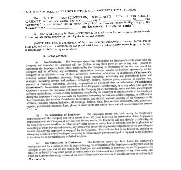 Sample Employee Non Compete Agreement Format , Non Compete - mutual understanding agreement format