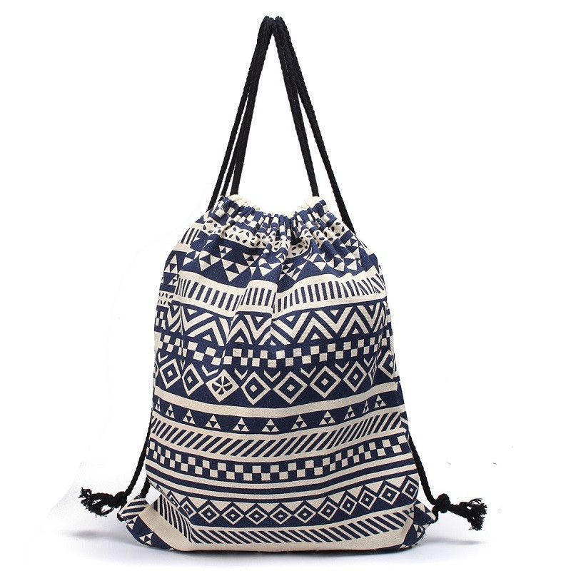 National Women Drawstring Bags Canvas Sack Bag Pack Striped ...
