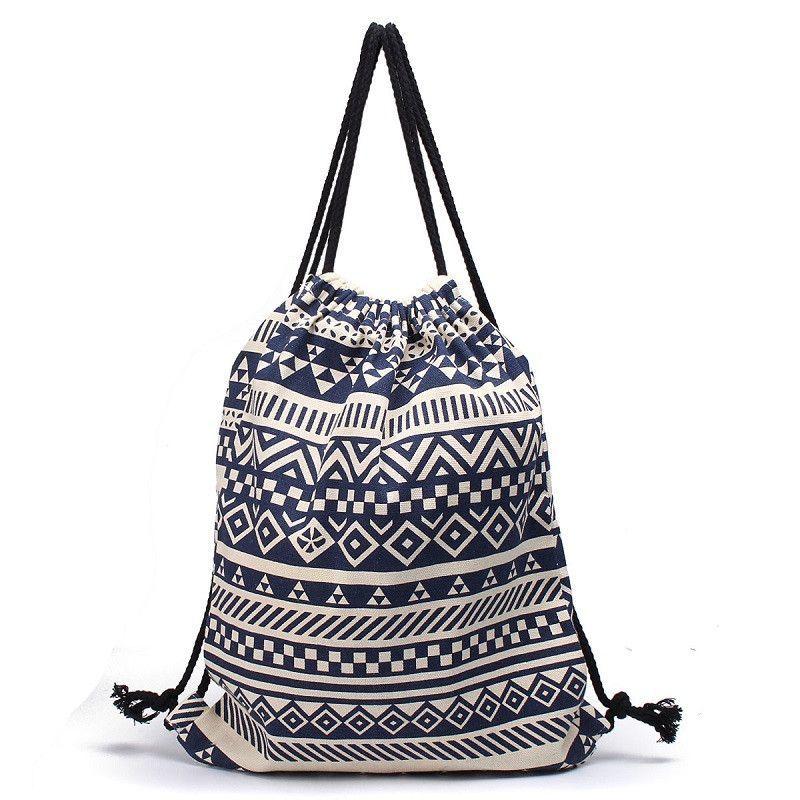 National Women Drawstring Bags Canvas Sack Bag Pack Striped ...