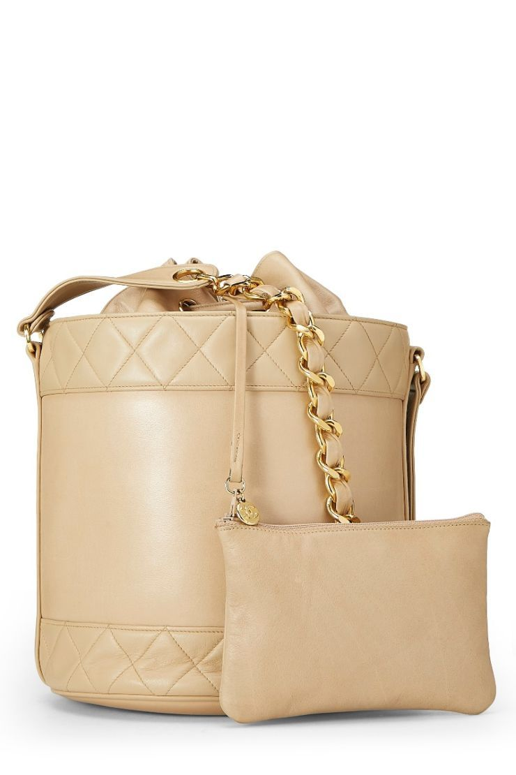 94c8c5f805f2 Chanel Beige Quilted Lambskin Bucket Bag - What Goes Around Comes Around