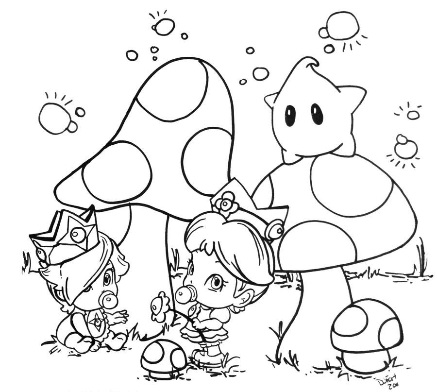 Daisy And Rosalina By Jadedragonne On Deviantart In 2020 Chibi Coloring Pages Cute Coloring Pages Space Coloring Pages