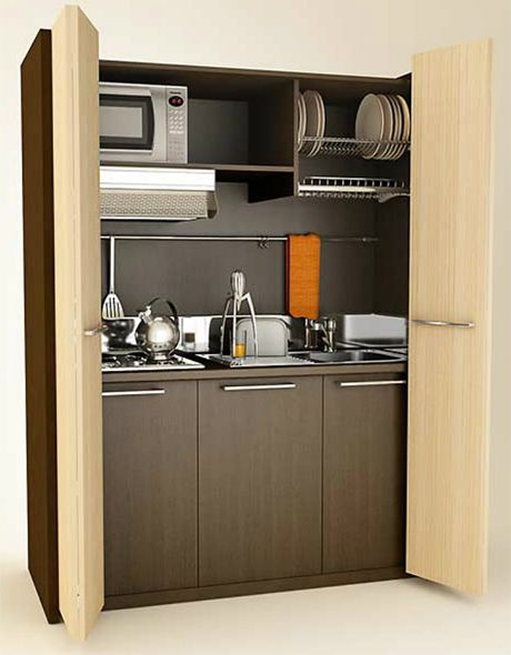 Mobilspazio contract monobloc mini kitchen folding doors for Kitchen units on wheels