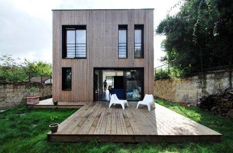 Maison BBC en ossature bois par SKP Architecture- Épinay-sur-Seine - maison bardage bois couleur