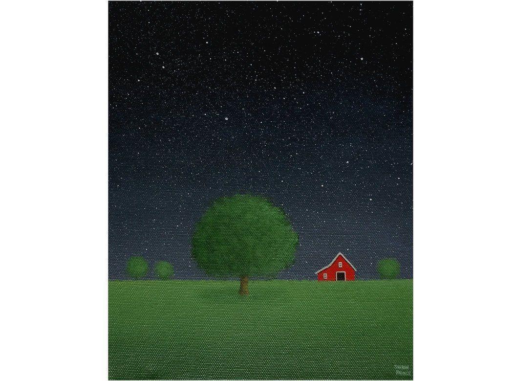 Barn Painting Night Sky Painting Tree Painting Farm Painting Original Painting On Canvas Country Landscape Red Barn Painting Star Sky Night Sky Painting Red Barn Painting Sky Painting