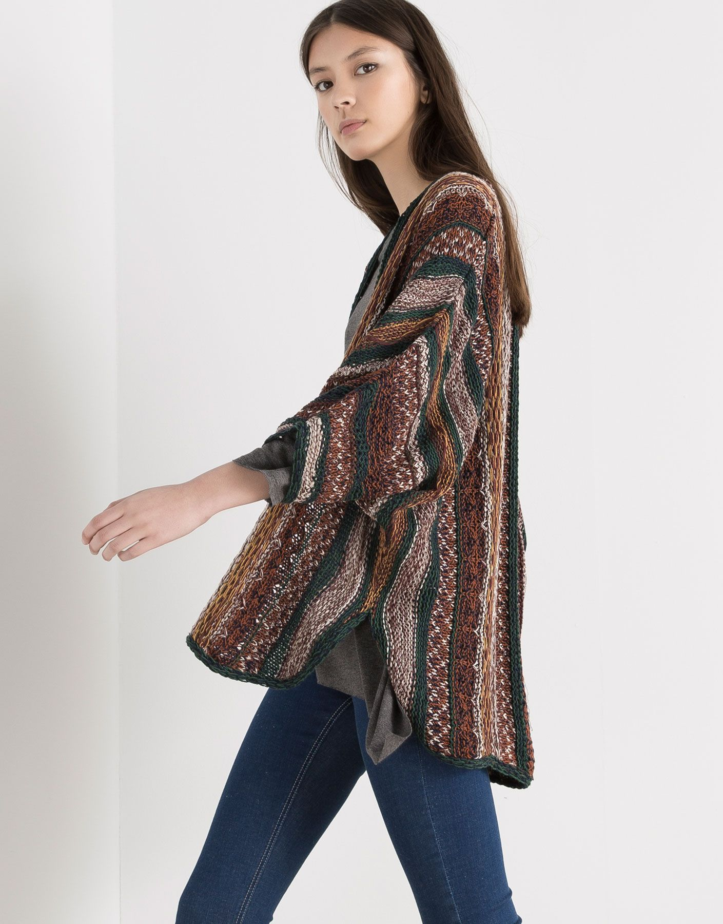 Cardigans amp;bear Pull Sweaters Kimono amp; Indonesia Striped Woman qx45Yfpxw
