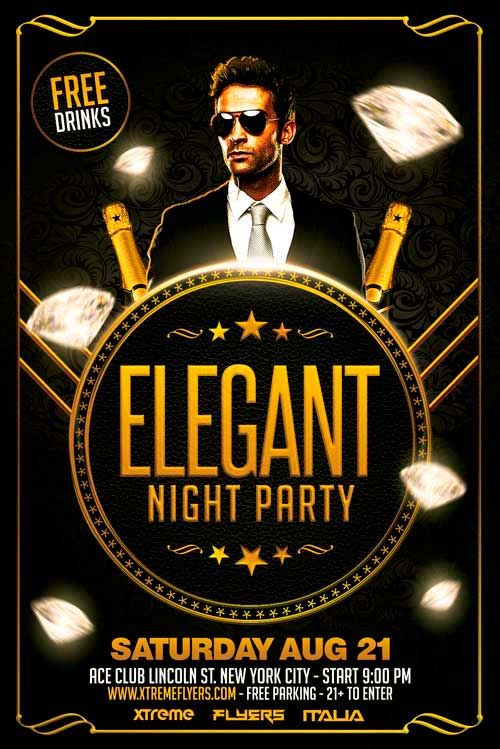 Free Elegant Party Flyer Template  Business Cards