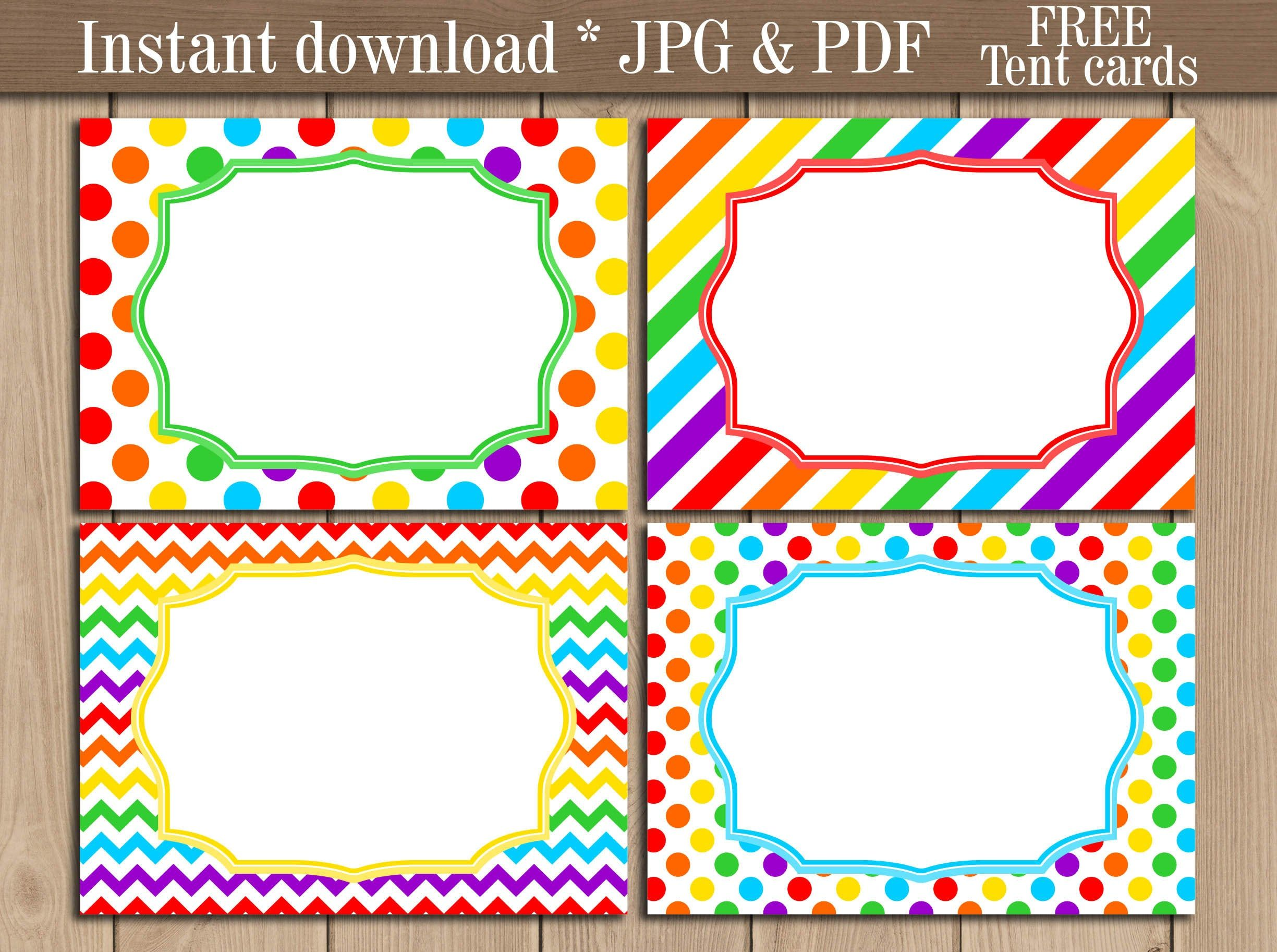 Rainbow Food Tent Labels Printable Address Food Party Buffet Blank Labels Dessert Food Cards Free Cards Instant Download Food Label Template Printable Labels Rainbow Food