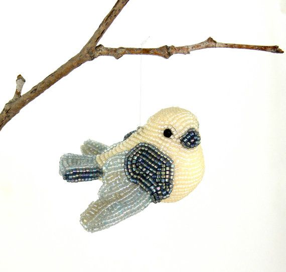 Beautiful! Perfect Christmas gift for anyone!  Dove Ornament Beaded White Dove Christmas In July by MeredithDada